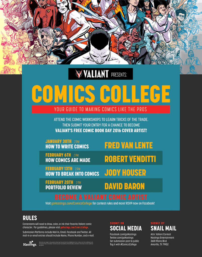 """Valiant Comics and Hastings Team Up For """"Comics College"""