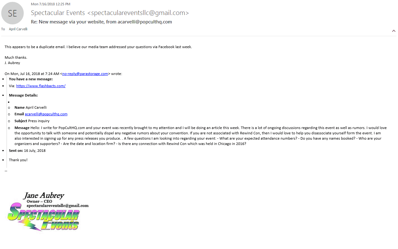 FlashbACTS email response