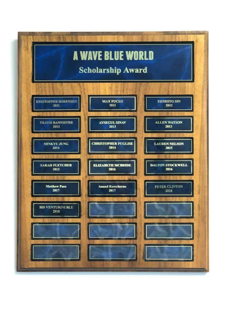 Past Winners of A Wave Blue World Scholarship