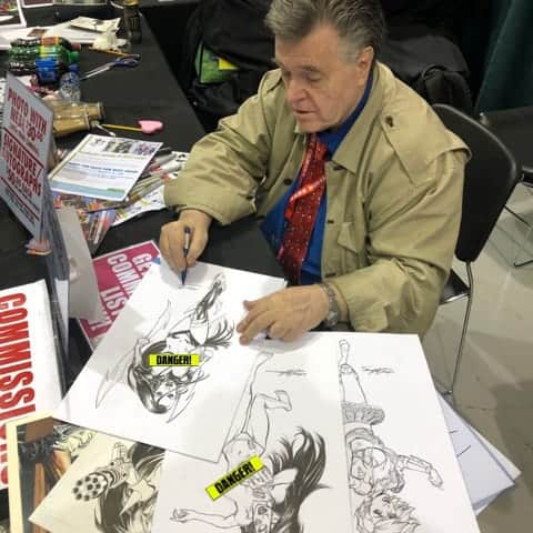 Neal Adams working on Danger Doll Universe covers